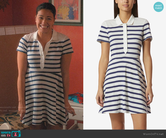 Avec Les Filles Cotton Striped Polo-Style Dress worn by Gina Rodriguez on Jane the Virgin