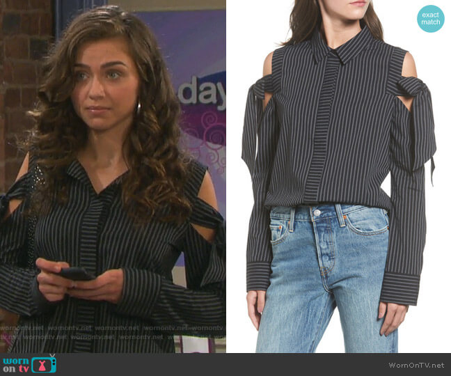 Bow Cold Shoulder Top by BP worn by Victoria Konefal on Days of our Lives