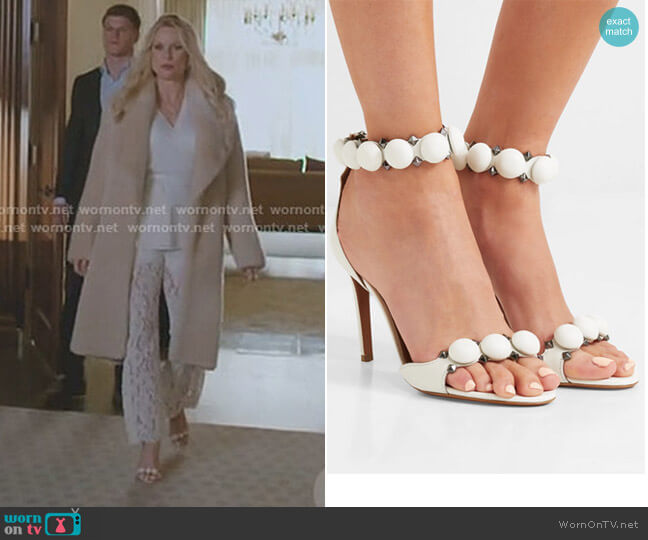 Bombe Studded Leather Sandals by Alaia worn by Alexis Carrington (Nicollette Sheridan) on Dynasty