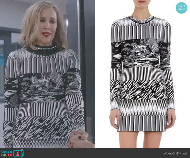 Mixedpattern Jacquard Knit Dress by Balenciaga worn by Moira Rose (Catherine O'Hara) on Schitts Creek