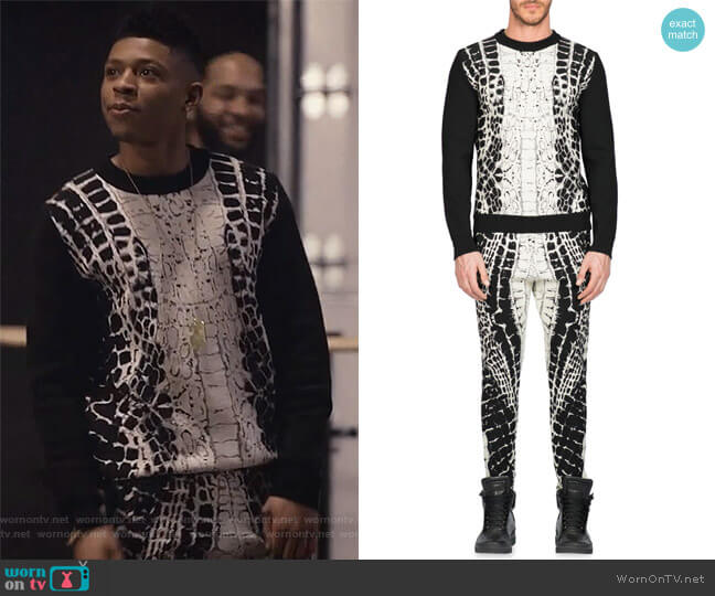 Devore Crocodile-Motif Sweater and Pants by Balmain worn by Hakeem Lyon (Bryshere Y. Gray) on Empire