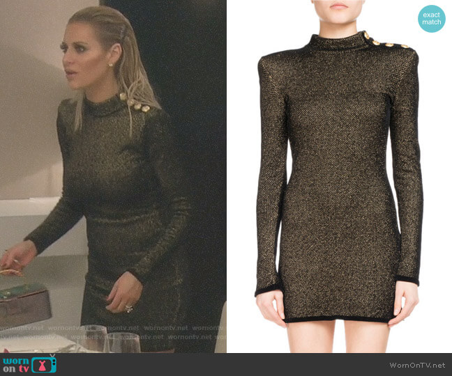 Metallic Mock-Neck Long-Sleeve Dress by Balmain worn by Dorit Kemsley on The Real Housewives of Beverly Hills