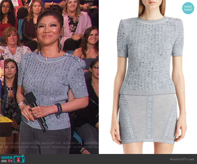 Tweed Effect Knit Sweater by Balmain worn by Julie Chen on The Talk