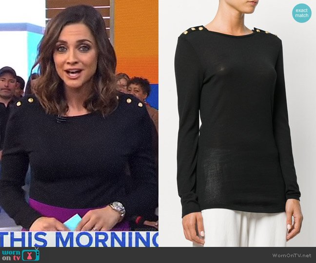 Button-Embellished Sweater by Balmain worn by Paula Faris on Good Morning America
