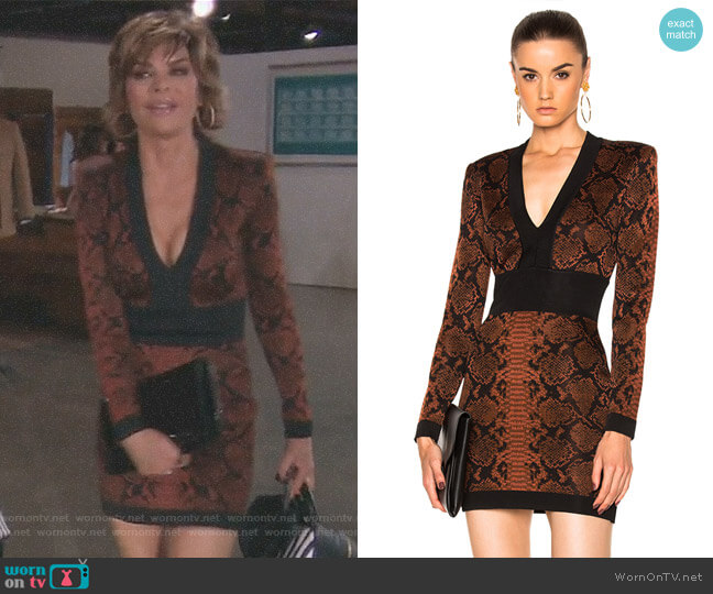 Snake Print Mini Dress by Balmain worn by Lisa Rinna  on The Real Housewives of Beverly Hills