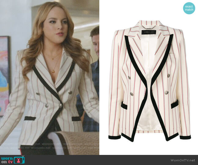 Striped Contrast Fitted Blazer by Barbara Bui worn by Fallon Carrington (Elizabeth Gillies) on Dynasty