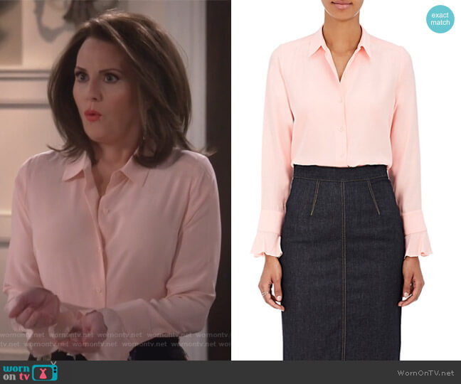 Silk Satin-Back Crepe Blouse by Barneys New York worn by Karen Walker (Megan Mullally) on Will & Grace