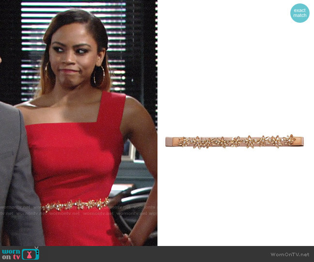 Bcbgmaxazria Organic Flower Stone Belt worn by Shanica Knowles on The Young & the Restless