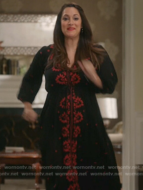Colleen's black and red floral embroidered v-neck dress on Life in Pieces