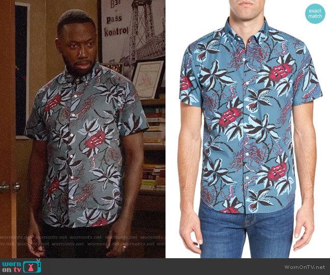 Bonobos Slim Fit Floral Print Sport Shirt worn by Lamorne Morris on New Girl