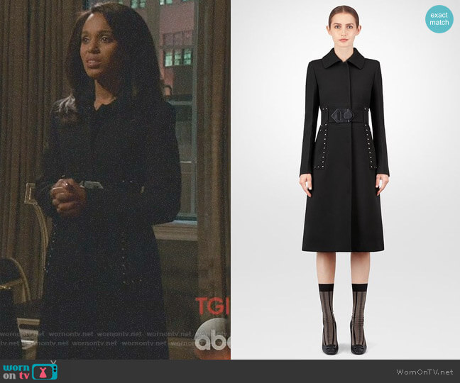 'Nero' Wool Coat by Bottega Veneta worn by Olivia Pope (Kerry Washington) on Scandal