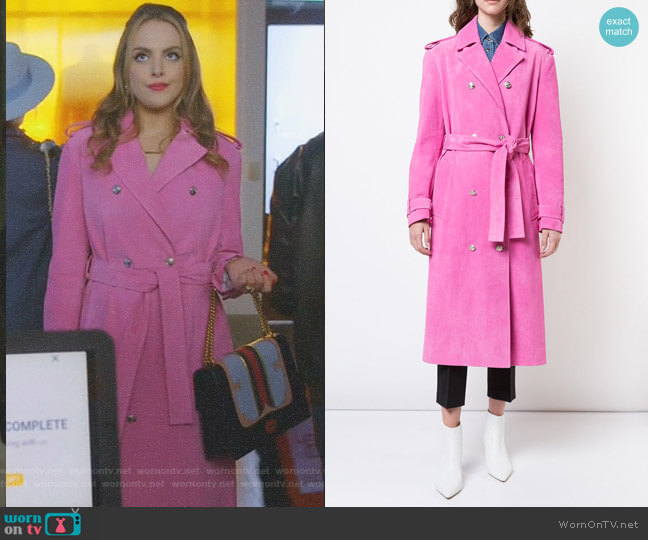 Suede Trench Coat by Calvin Klein 205W39NYC worn by Elizabeth Gillies on Dynasty