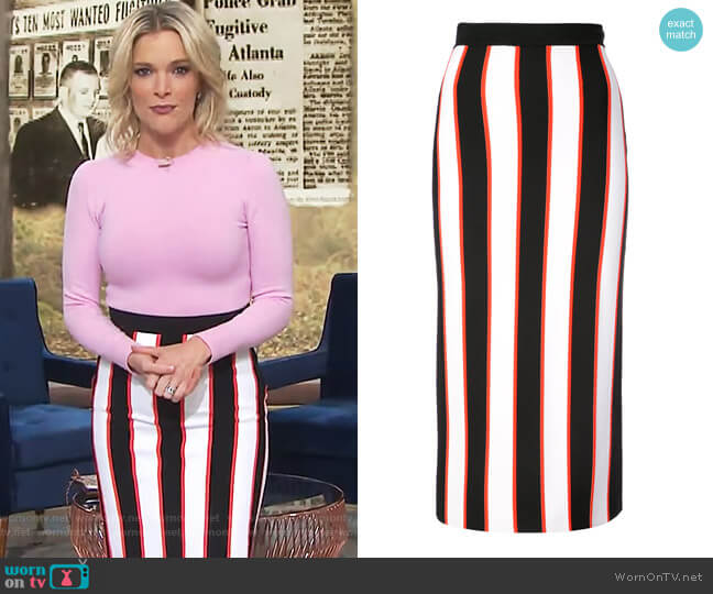Striped Pencil Skirt by Carolina Herrera worn by Megyn Kelly on Today