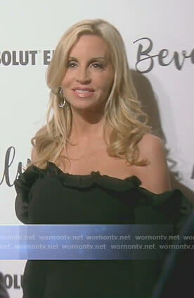 Camille's black ruffled off-shoulder dress on The Real Housewives of Beverly Hills