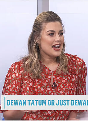 Carissa's red floral blouse on E! News Daily Pop