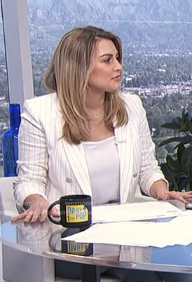 Carissa's white pinstripe blazer on E! News Daily Pop