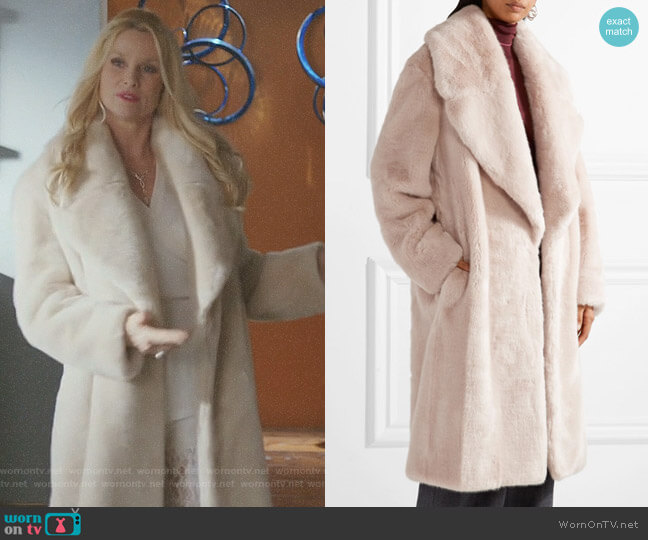 Oversized faux fur coat by Cédric Charlier worn by Alexis Carrington (Nicollette Sheridan) on Dynasty