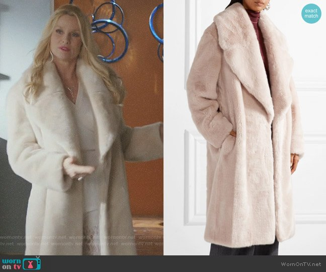 Oversized faux fur coat by Cédric Charlier worn by Nicollette Sheridan on Dynasty