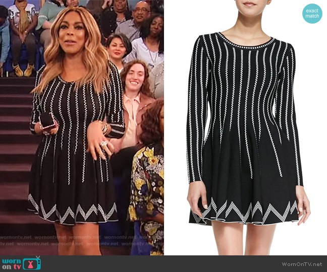 Dot-Striped Fit-And-Flare Dress by Charlie Jade worn by Wendy Williams on The Wendy Williams Show