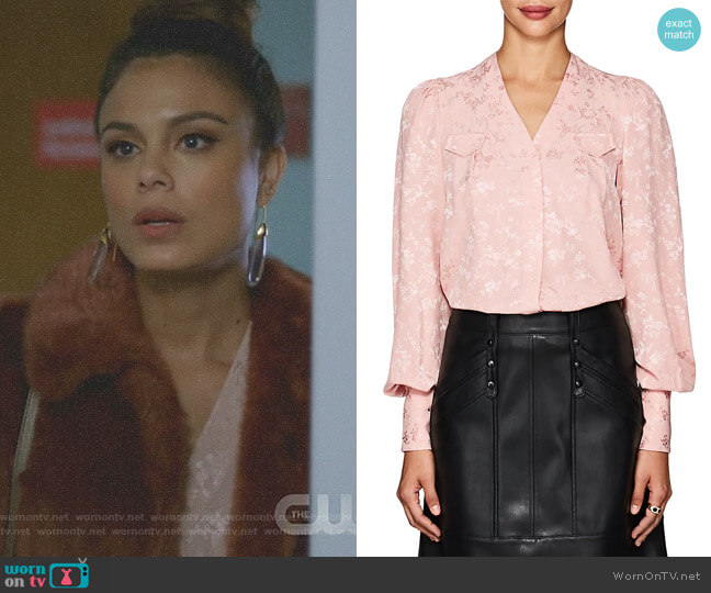 Charlotte Floral Silk Jacquard Blouse by Maison Mayle worn by Nathalie Kelley on Dynasty