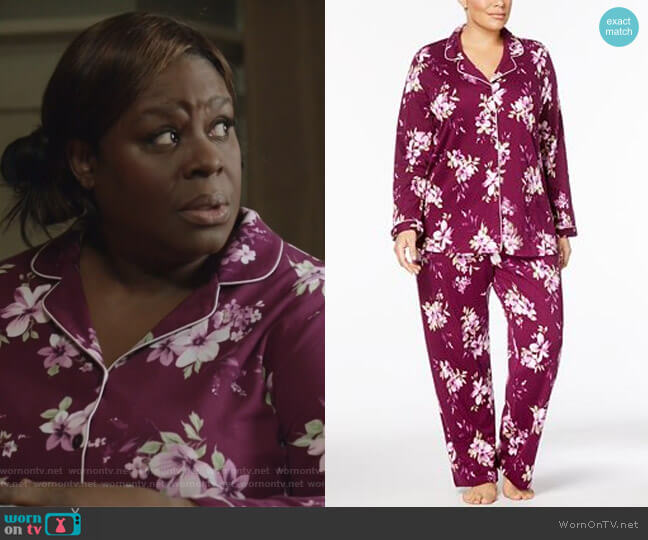 Plus Size Floral-Print Cotton Pajama Set by Charter Club worn by Retta on Good Girls