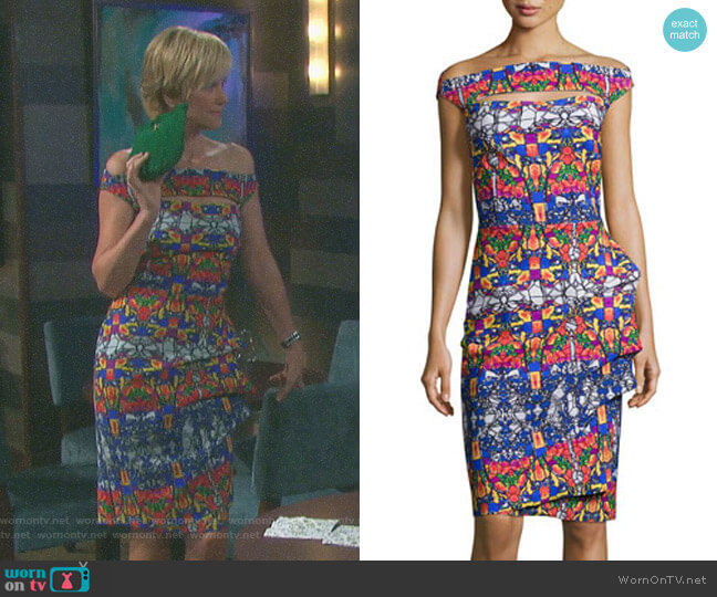 Off-the-Shoulder Printed Cutout Cocktail Dress by Chiara Boni La Petite Robe worn by Eve Donovan (Kassie DePaiva) on Days of our Lives