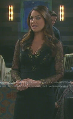 Chloe's black and gold lace dress on Days of our Lives