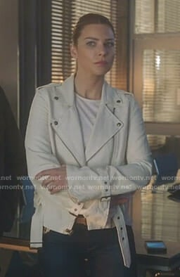 Chloe's white moto jacket on Lucifer