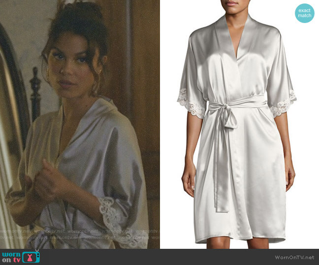 Bijoux Short Silk Robe by Christine Designs worn by Cristal Flores (Nathalie Kelley) on Dynasty