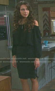 Ciara's black off-shoulder top and lace up denim skirt on Days of our Lives