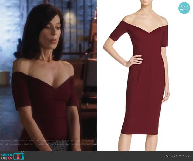 Birch Off-The-Shoulder Dress by Cinq a Sept worn by Perrey Reeves on Famous in Love