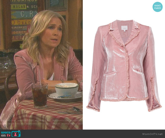 Velvet Ruffled Blazer by Cinq a Sept worn by Jennifer Horton (Melissa Reeves) on Days of our Lives