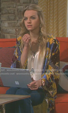 Claire's yellow floral kimono jacket on Days of our Lives