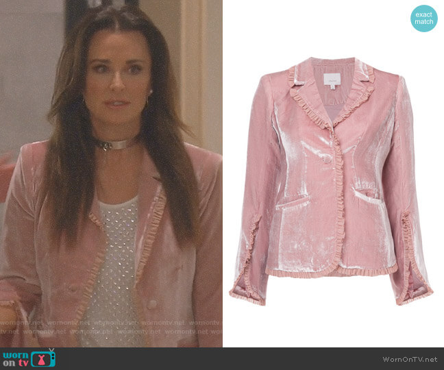 Velvet Ruffled Blazer by Cinq a Sept worn by Kyle Richards  on The Real Housewives of Beverly Hills