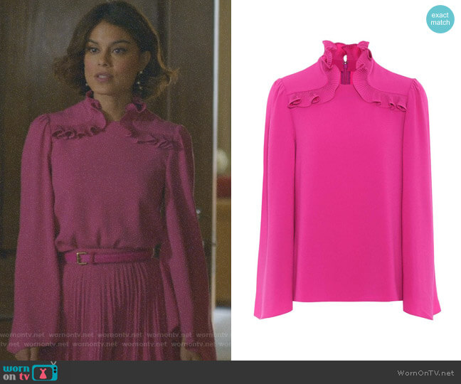 Crepe Blouse by Co worn by Nathalie Kelley on Dynasty