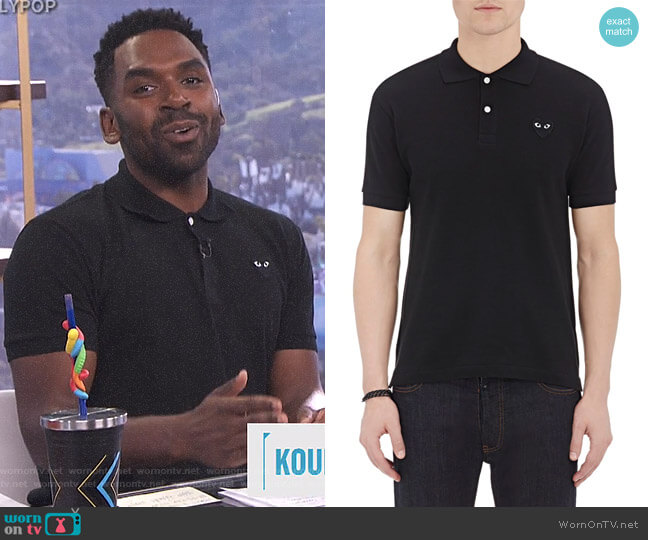 Piqué Polo Shirt by Comme des Garcons PLAY worn by Justin Sylvester  on E! News