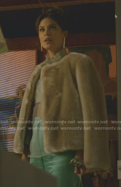 Cristal's beige fur jacket on Dynasty