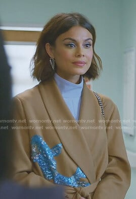 Cristal's beige wrap coat with sequin patch on Dynasty