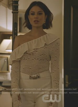 Cristal's white one-shoulder crochet top on Dynasty