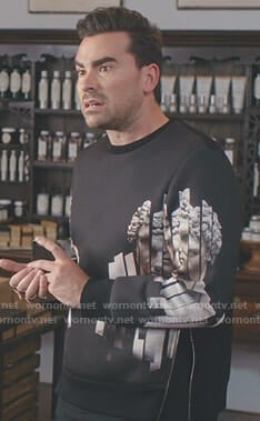 David's black Hercules print side zip sweatshirt on Schitt's Creek