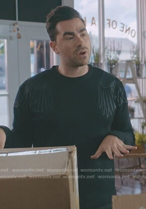 David's black wing print sweatshirt on Schitt's Creek