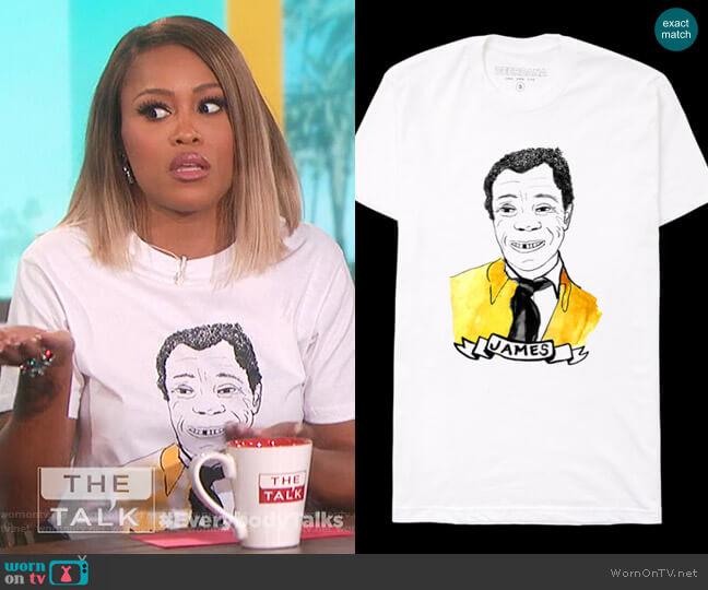James Baldwin Print T-shirt by Deer Dana worn by Eve  on The Talk