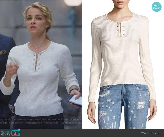 Knot Mariner Combo Silk & Cashmere Sweater by Veronica Beard worn by Lizzie Needham (Bojana Novakovic) on Instinct