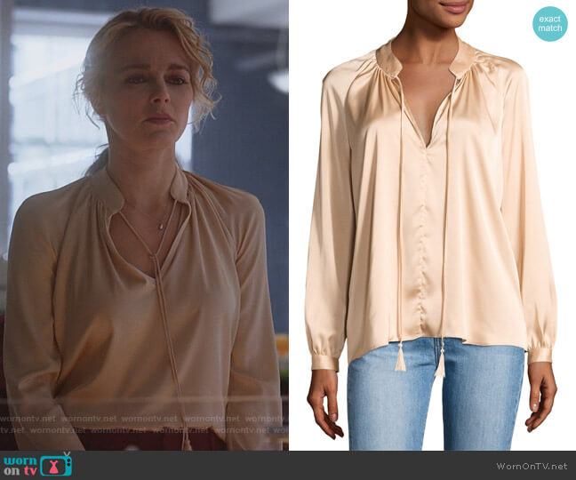 Nehru Long-Sleeve Satin Blouse by Derek Lam 10 Crosby worn by Bojana Novakovic on Instinct