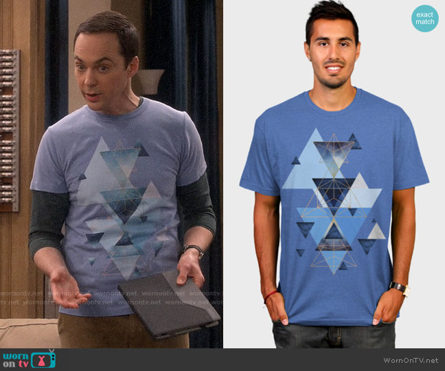 Design by Humans jaggedhues Geometric Triangles  worn by Sheldon Cooper (Jim Parsons) on The Big Bang Theory