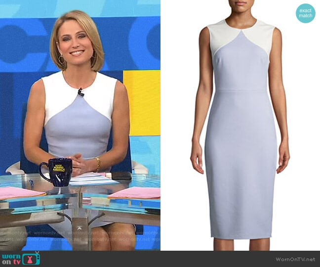 Colorblock Sleeveless Body-Con Midi Sheath Dress by Diane von Furstenberg worn by Amy Robach on Good Morning America