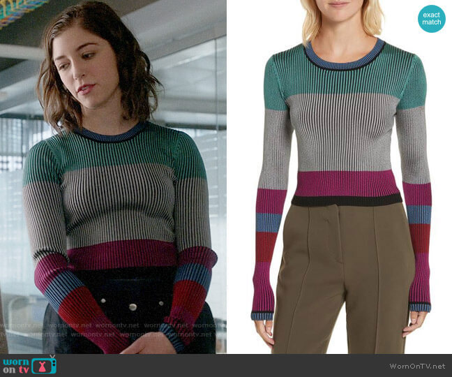 Diane von Furstenberg Cropped Plaited Pullover worn by Annabelle Attanasio on Bull