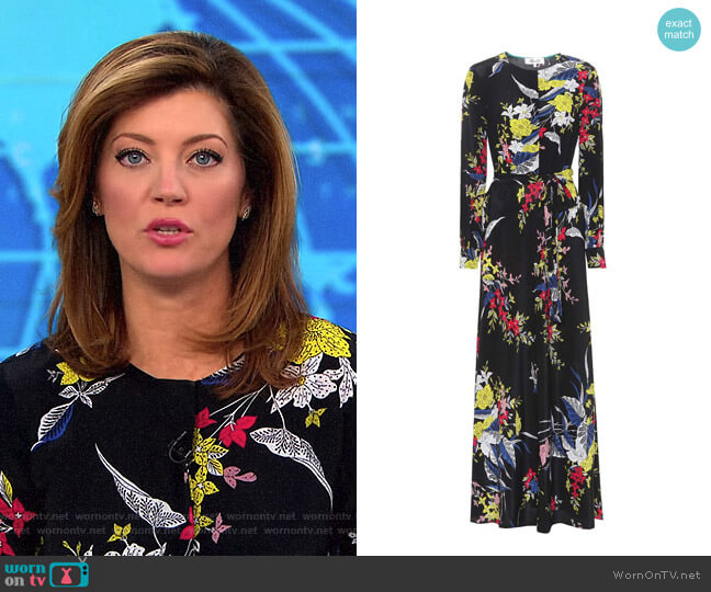 Printed Silk Maxi Dress by Diane von Furstenberg worn by Norah O'Donnell (Norah O'Donnell) on CBS This Morning
