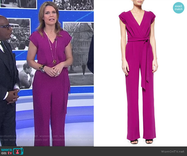 Purdy Tie-Waist Crepe Jumpsuit by Diane von Furstenberg worn by Savannah Guthrie on Today