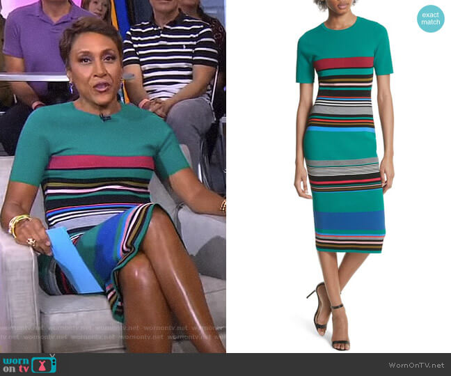 Stripe Short Sleeve Sweater Dress by Diane von Furstenberg worn by Robin Roberts on Good Morning America